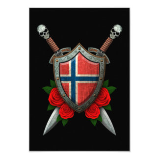 Worn Norwegian Flag Shield and Swords with Roses Personalized Invitations