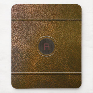 Worn Out Brown Leather Look-Custom Initial Mouse Mat