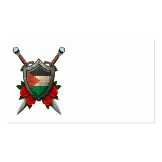 Worn Palestinian Flag Shield and Swords with Roses Double-Sided Standard Business Cards (Pack Of 100)