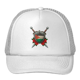 Worn Palestinian Flag Shield and Swords with Roses Mesh Hat