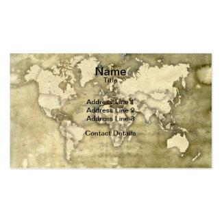 Worn Paper World Map Pack Of Standard Business Cards