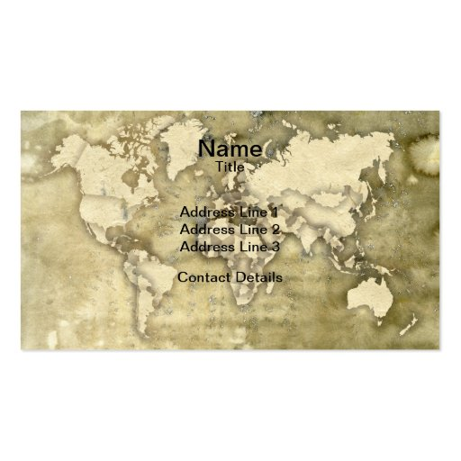 Worn Paper World Map Business Cards