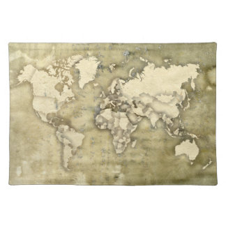 Worn Paper World Map Placemat