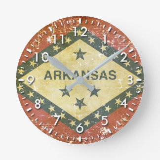 Worn Patriotic Arkansas State Flag Round Clock