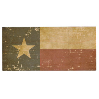 Worn Patriotic Texas State Flag Wood USB Flash Drive