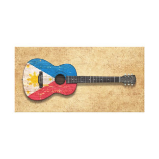 Worn Philippines Flag Acoustic Guitar Stretched Canvas Prints