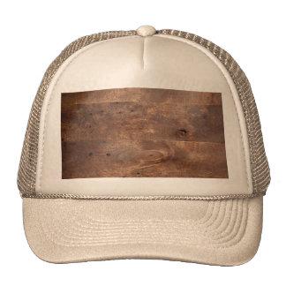 Worn pine board trucker hats