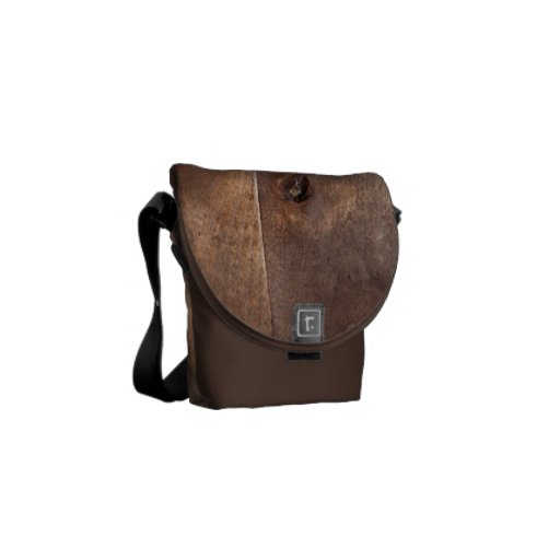 Worn pine board messenger bag