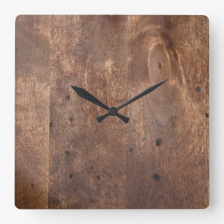 Worn pine board square wall clock