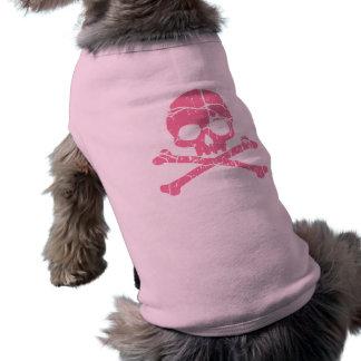Worn Pink Skull and Crossbones Sleeveless Dog Shirt