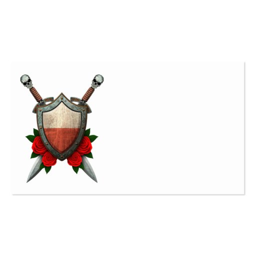 Worn Polish Flag Shield and Swords with Roses Business Cards