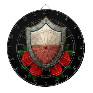 Worn Polish Flag Shield with Red Roses Dartboard