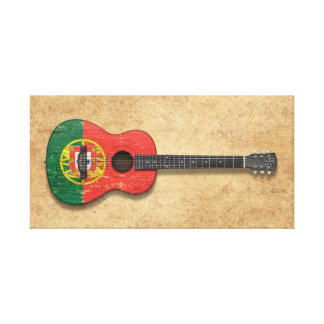Worn Portuguese Flag Acoustic Guitar Gallery Wrap Canvas