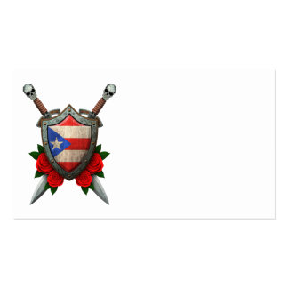Worn Puerto Rico Flag Shield and Swords with Roses Double-Sided Standard Business Cards (Pack Of 100)