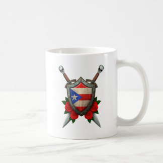 Worn Puerto Rico Flag Shield and Swords with Roses Coffee Mugs