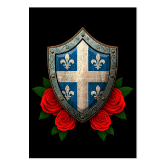 Worn Quebec Flag Shield with Red Roses Large Business Cards (Pack Of 100)