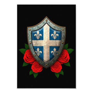 Worn Quebec Flag Shield with Red Roses Personalized Invites