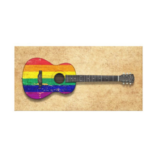 Worn Rainbow Gay Pride Flag Acoustic Guitar Stretched Canvas Print