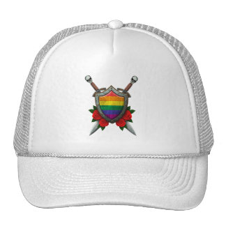 Worn Rainbow Gay Pride Flag Shield and Swords with Trucker Hats