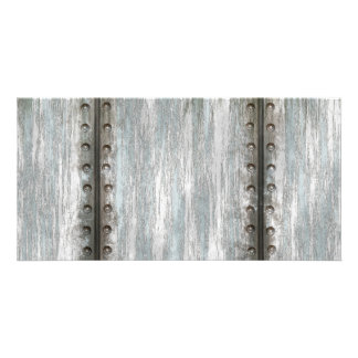Worn Riveted Metal Grunge Textured Picture Card
