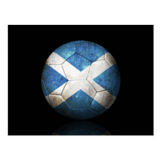 Worn Scottish Flag Football Soccer Ball Postcard