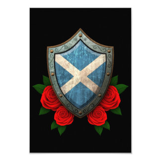 Worn Scottish Flag Shield with Red Roses Announcements