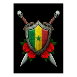 Worn Senegal Flag Shield and Swords with Roses Large Business Cards (Pack Of 100)