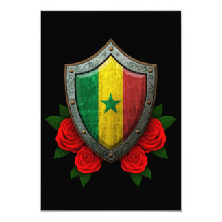 Worn Senegal Flag Shield with Red Roses Custom Announcement