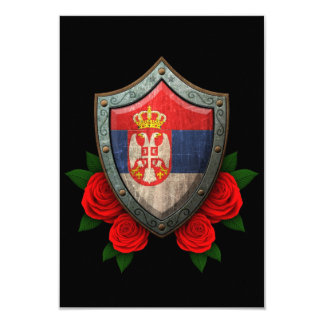 Worn Serbian Flag Shield with Red Roses 9 Cm X 13 Cm Invitation Card