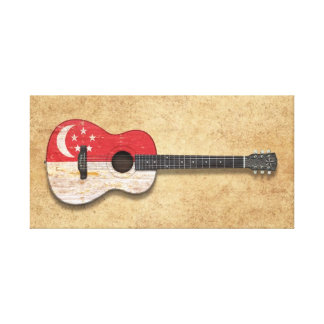 Worn Singapore Flag Acoustic Guitar Canvas Prints