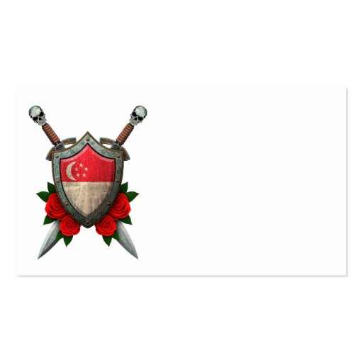 Worn Singapore Flag Shield and Swords with Roses Business Card Templates
