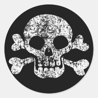 Worn Skull and Crossbones Round Sticker