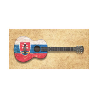 Worn Slovakian Flag Acoustic Guitar Stretched Canvas Print