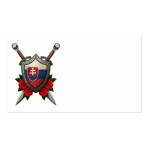 Worn Slovakian Flag Shield and Swords with Roses Business Card