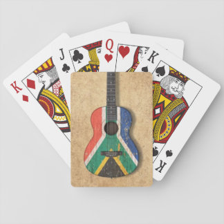 Worn South African Flag Acoustic Guitar Playing Cards