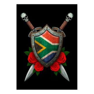 Worn South African Flag Shield and Swords with Ros Large Business Cards (Pack Of 100)