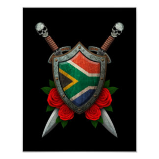 Worn South African Flag Shield and Swords with Ros Poster