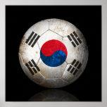 Worn South Korean Flag Football Soccer Ball Poster