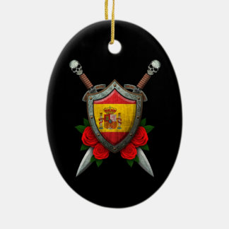 Worn Spanish Flag Shield and Swords with Roses Ornaments