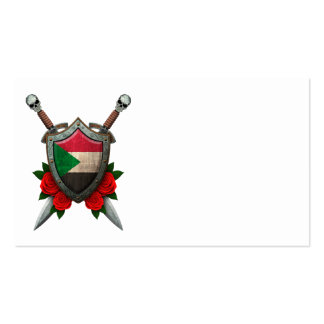 Worn Sudanese Flag Shield and Swords with Roses Business Card Template