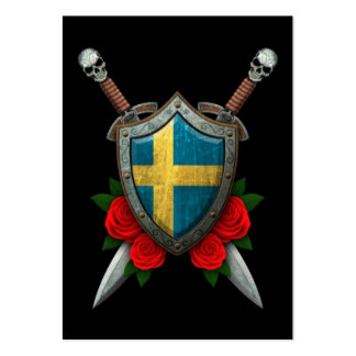 Worn Swedish Flag Shield and Swords with Roses Large Business Cards (Pack Of 100)