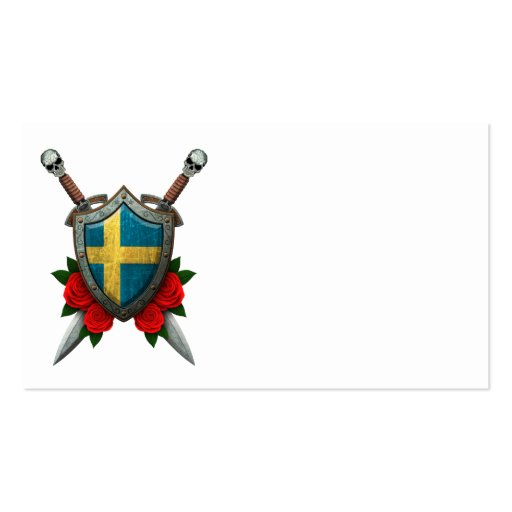 Worn Swedish Flag Shield and Swords with Roses Business Cards