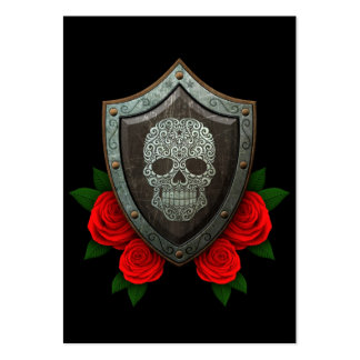 Worn Swirling Sugar Skull Shield with Red Roses Large Business Cards (Pack Of 100)