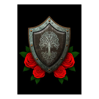 Worn Swirling Tree Shield with Red Roses Large Business Cards (Pack Of 100)