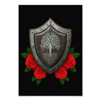 Worn Swirling Tree Shield with Red Roses Invitations