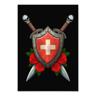 Worn Swiss Flag Shield and Swords with Roses Personalized Invite