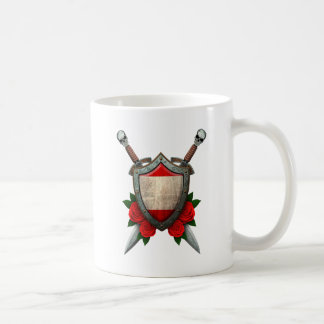 Worn Tahitian Flag Shield and Swords with Roses Coffee Mug