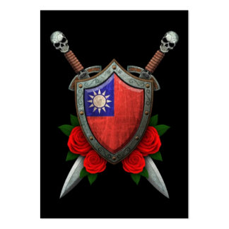 Worn Taiwanese Flag Shield and Swords with Roses Large Business Cards (Pack Of 100)