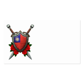 Worn Taiwanese Flag Shield and Swords with Roses Business Card