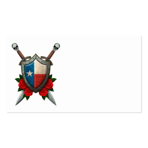 Worn Texas Flag Shield and Swords with Roses Business Card